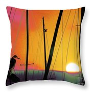 Sunrise At The Marina Throw Pillow