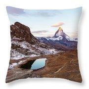 Sunrise At The Matterhorn Mountain Area Throw Pillow