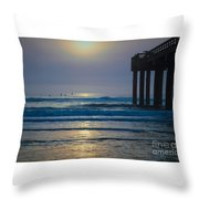 Sunrise At The Pier Throw Pillow