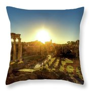 Sunrise At The Ruins Throw Pillow