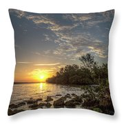 Sunrise At The Sunshine Skyway Throw Pillow