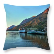Sunrise At The Two Medicine Dock Throw Pillow