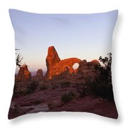 Sunrise At Tower Arch Throw Pillow