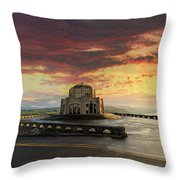 Sunrise At Vista House On Crown Point Throw Pillow