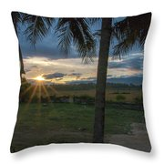 Sunrise Between The Palms Throw Pillow