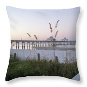 Sunrise Beyond Pier Throw Pillow