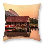 Sunrise Boat House Throw Pillow
