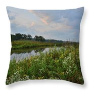 Sunrise Clouds Above Glacial Park's Nippersink Creek Throw Pillow