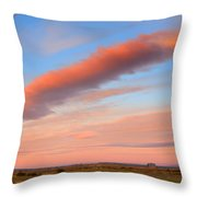 Sunrise Clouds And Barn Throw Pillow