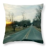 Sunrise Down The Road Throw Pillow