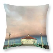 Sunrise Drama - Manhattan Beach Pier Throw Pillow