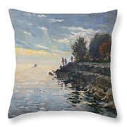 Sunrise Fishing Throw Pillow