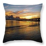Sunrise Fort Clinch Pier Throw Pillow