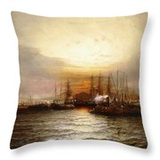 Sunrise From Chapman Dock And Old Brooklyn Navy Yard, East River, New York Throw Pillow