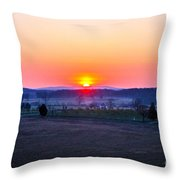 Sunrise From Confederate Avenue Gettysburg Throw Pillow