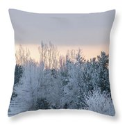 Sunrise Glos Behind Trees Frozen Trees Throw Pillow