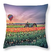 Sunrise, Hot Air Balloon And Moon Over The Tulip Field Throw Pillow
