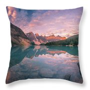 Sunrise Hour At Banff Throw Pillow