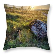Sunrise In Field. Stone In Front Throw Pillow