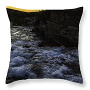 Sunrise In Many Glacier Area Throw Pillow