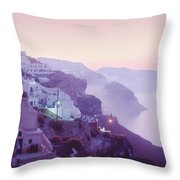 Sunrise In Oia Throw Pillow