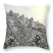 Sunrise In Snowstorm In The Pike National Forest Throw Pillow
