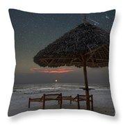 Sunrise In Tropical Beach Of Zanzibar With Starry Sky Throw Pillow