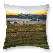 Sunrise Landscape Over Morganton Town In  North Carolina  Throw Pillow