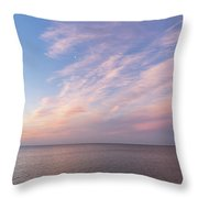 Sunrise Moonset - Feathery Clouds And Crescent Moon Over Water Throw Pillow