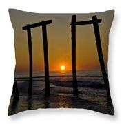 Sunrise At Ocean City Throw Pillow