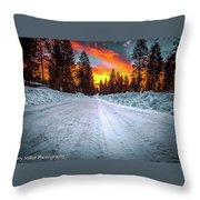 Sunrise On A Rural Road Throw Pillow