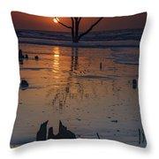 Sunrise On Boneyard Beach Throw Pillow