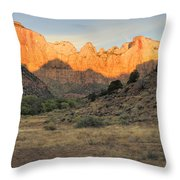 Towers Of The Virgin At Sunrise Throw Pillow