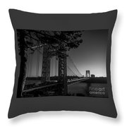 Sunrise On The Gwb, Nyc - Bw Landscape Throw Pillow
