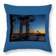 Sunrise On The Gwb, Nyc - Landscape Throw Pillow