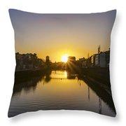 Sunrise On The Liffey River - Dublin Ireland Throw Pillow