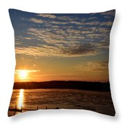 Sunrise On The Mississippi Throw Pillow