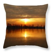 Sunrise On The Pecatonica River Throw Pillow