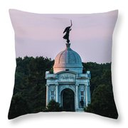 Sunrise On The Pennsylvania Monument Gettysburg Battlefield Throw Pillow