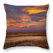 Sunrise On The Plains - Moon Over Prairie In Eastern Colorado Throw Pillow