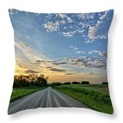 Sunrise On The Road Throw Pillow
