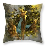 Sunrise On The Tree Pixies Throw Pillow