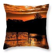 Sunrise Over A Pond Throw Pillow
