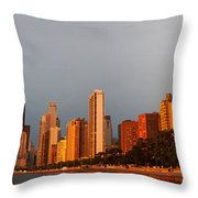 Sunrise Over Chicago Throw Pillow