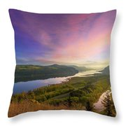 Sunrise Over Columbia River Gorge Throw Pillow