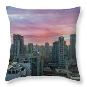 Sunrise Over Downtown Vancouver Bc Throw Pillow
