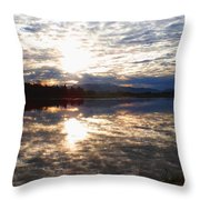 Sunrise Over Flooded Field In Bow Throw Pillow