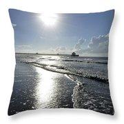 Sunrise Over Folly Beach Pier Throw Pillow