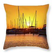 Sunrise Over Long Beach Harbor - Mississippi - Boats Throw Pillow