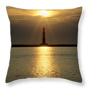 Sunrise Over Morris Island Lighthouse Throw Pillow